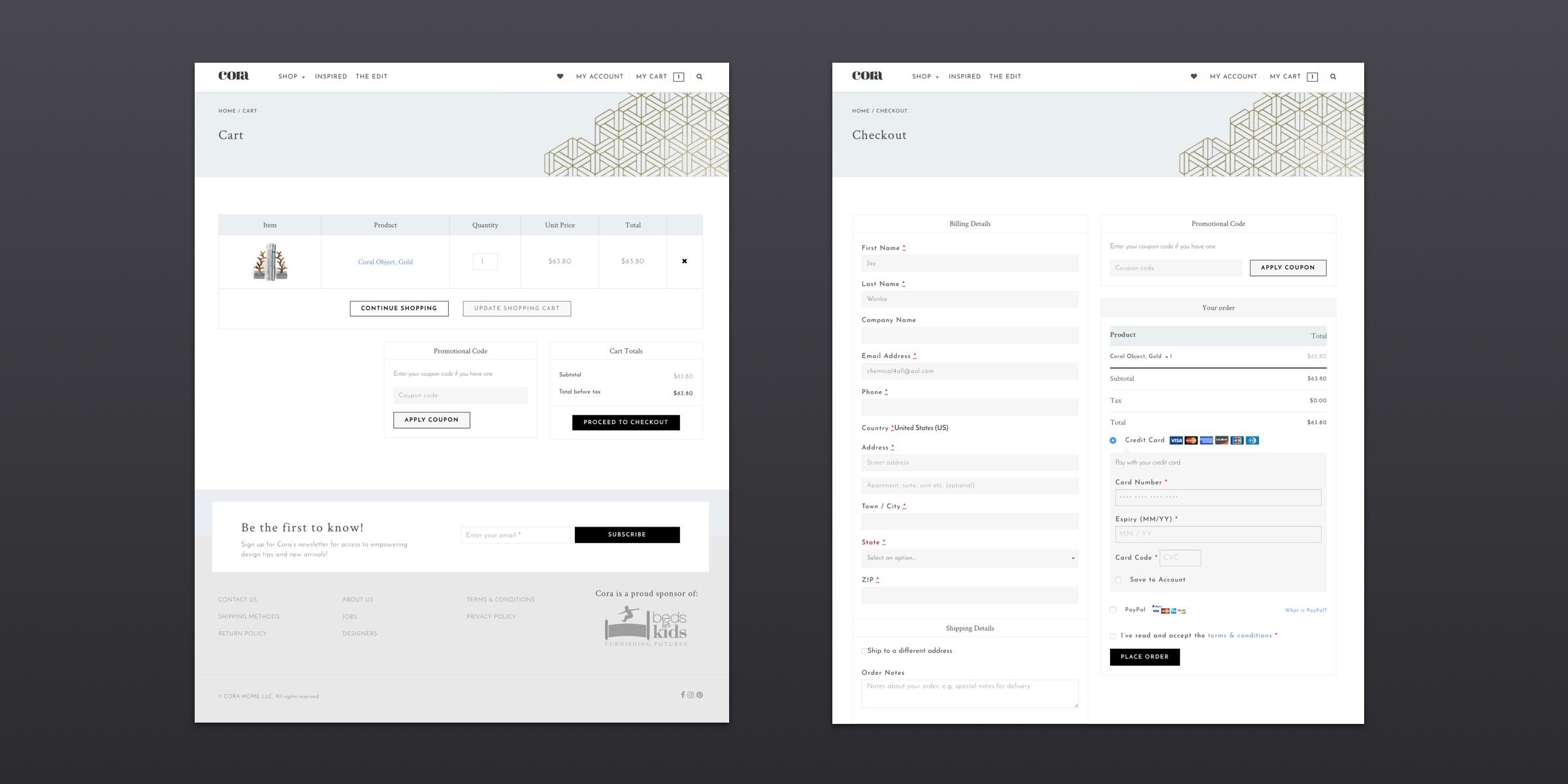 Cora E-Commerce Website Checkout